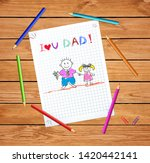 father and daughter kids... | Shutterstock .eps vector #1420442141
