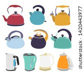 white background  set  teapot...   Shutterstock .eps vector #1420443977