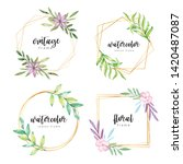 watercolor floral frame with... | Shutterstock . vector #1420487087