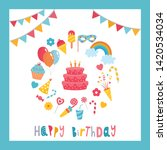 greeting card design with... | Shutterstock .eps vector #1420534034
