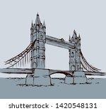 great old suspension bridgework ...   Shutterstock .eps vector #1420548131
