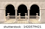 Arched Balcony With Balustrade...