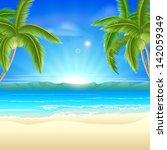 summer holiday beach background ... | Shutterstock .eps vector #142059349