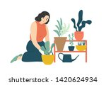 funny happy girl taking care of ... | Shutterstock .eps vector #1420624934