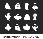 Set Of Halloween Cute Ghost...