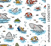 cartoon summer sea background... | Shutterstock .eps vector #1420657367