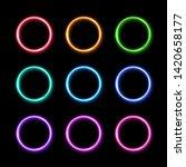 colorful neon light ring set.... | Shutterstock .eps vector #1420658177