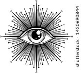 blackwork tattoo flash. eye of... | Shutterstock .eps vector #1420690844