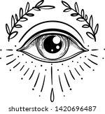 blackwork tattoo flash. eye of... | Shutterstock .eps vector #1420696487