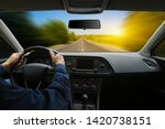 the man inside the car is...   Shutterstock . vector #1420738151