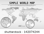 abstract simple world map  ... | Shutterstock .eps vector #142074244