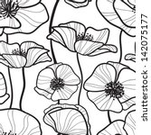 Stock vector black and white seamless pattern with outline sketchy poppy monochrome floral background wallpaper 142075177