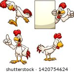 cartoon chicken in different... | Shutterstock .eps vector #1420754624