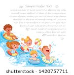 children swimming and jumping... | Shutterstock .eps vector #1420757711