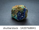 Piece of blue Linarite mineral from Chile. It is formed by the oxidation of galena and chalcopyrite and other copper sulfides. It crystallizes in the Monoclinic system.