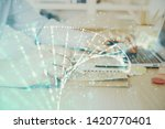 dna hologram with businessman... | Shutterstock . vector #1420770401
