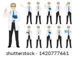 male doctor set in different... | Shutterstock .eps vector #1420777661