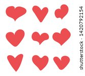 red set hearts icon vector...   Shutterstock .eps vector #1420792154