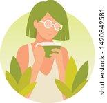 Girl Drinking Matcha Tea Vector ...