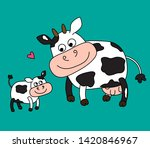 a cow and her calf on a green... | Shutterstock .eps vector #1420846967