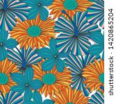 seamless colorful floral... | Shutterstock . vector #1420865204