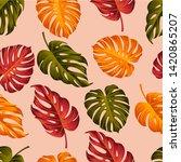 tropical leaves seamless... | Shutterstock . vector #1420865207