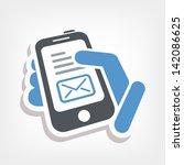 smartphone e mail icon   Shutterstock .eps vector #142086625