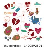 set of heartbreak with doodle... | Shutterstock .eps vector #1420892501