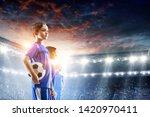 little soccer champions. mixed...   Shutterstock . vector #1420970411