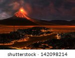 volcanic mountain   red hot... | Shutterstock . vector #142098214