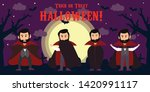 Happy Halloween. Vampire cartoon character wearing black and red cape, set of four poses.with background hallloween Vector illustration