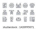 election related line icon set. ...