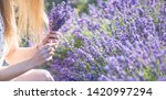 a girl with long hair collects... | Shutterstock . vector #1420997294