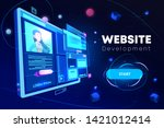 website development banner ...   Shutterstock .eps vector #1421012414