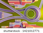 top view transport interchange... | Shutterstock .eps vector #1421012771