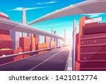 city road  empty streetscape... | Shutterstock .eps vector #1421012774