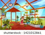 woman in greenhouse care of... | Shutterstock .eps vector #1421012861