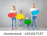 happy family   father  mother ... | Shutterstock . vector #1421017157