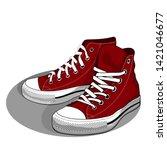 vector image of sneakers  old...   Shutterstock .eps vector #1421046677