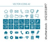 contact icons in 3 different... | Shutterstock .eps vector #1421051897