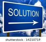 Solution direction road street sign and the sky - stock photo