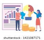 businessman and businesswoman... | Shutterstock .eps vector #1421087171