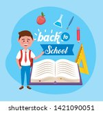 boy student with book and apple ...   Shutterstock .eps vector #1421090051