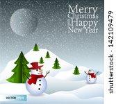 merry christmas lettering green ... | Shutterstock .eps vector #142109479