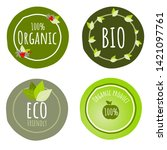 set of 4 organic product or...   Shutterstock .eps vector #1421097761