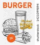 burger illustration for... | Shutterstock .eps vector #1421099894