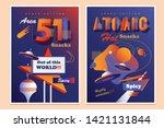 set of two mid century modern...   Shutterstock .eps vector #1421131844