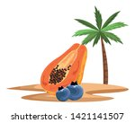 exotic tropical fruit with...   Shutterstock .eps vector #1421141507
