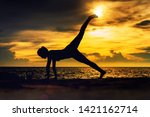 abstrac.silhouette yoga... | Shutterstock . vector #1421162714