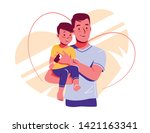 happy dad and baby son are look ... | Shutterstock .eps vector #1421163341
